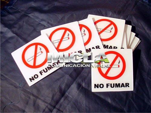cartel prohibido fumar en alto impacto. precio x 5 unidades