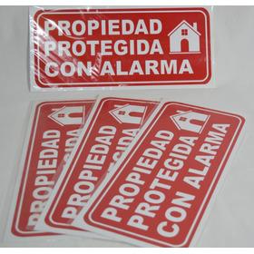 Cartel Propiedad Protegida Con Alarma 14x30 Cm Alto Impacto