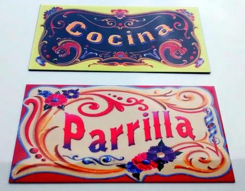 cartel retro vintage filete - chamullero - 25 x 15 cm