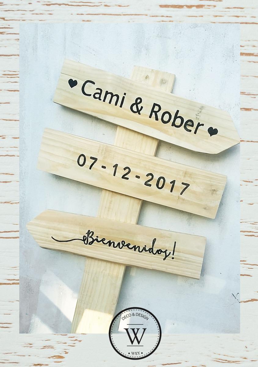 Cartel Señalización Para Casamientos Y Eventos En Madera