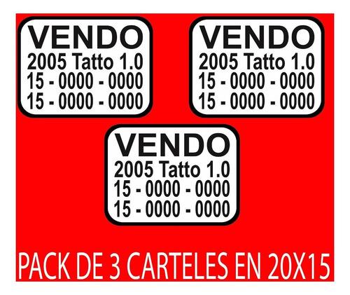 cartel vendo auto pack 3 unidades - villa pueyrredón