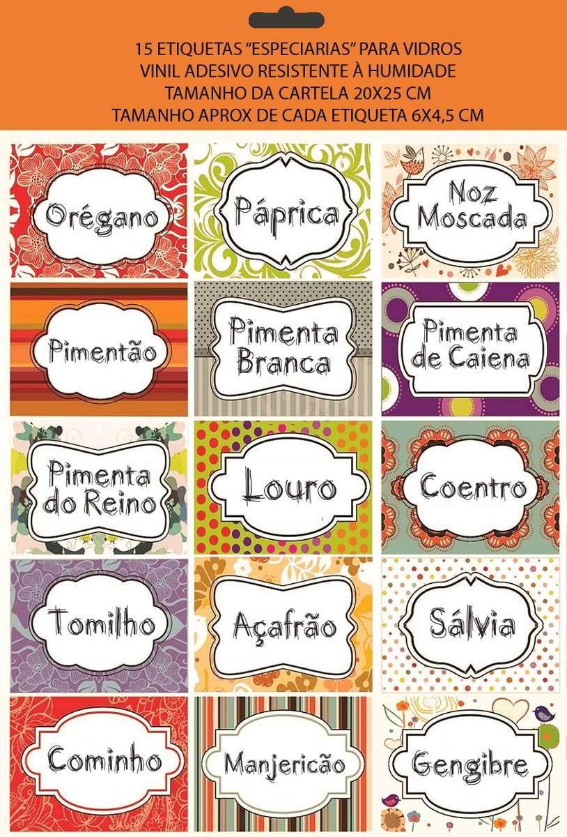 Cartela 15 Etiquetas Cozinha Temperos Frete Gr Tis R 29 00 Em