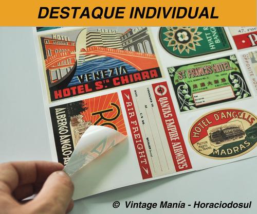 cartela 18 adesivos retrô vintage viagens - frete grátis