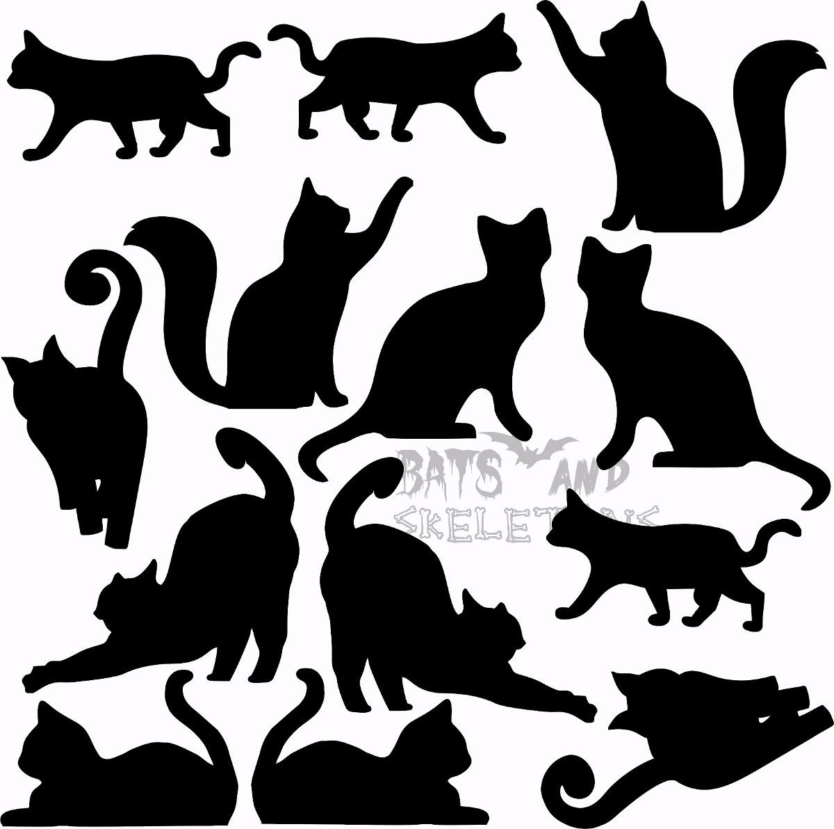 Adesivos De Rosto Halloween ~ Cartela Adesivo 13 Gatos Preto Vinil Decoraç u00e3o Halloween R$ 22,00 em Mercado Livre