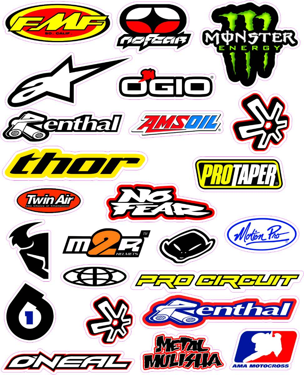 Adesivos De Fogo Para Motos ~ Cartela Adesivos Impressos Moto, Marcas Legais! R$ 25,00