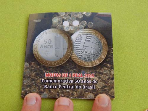 cartela / blister para moeda 1 real 50 anos banco central