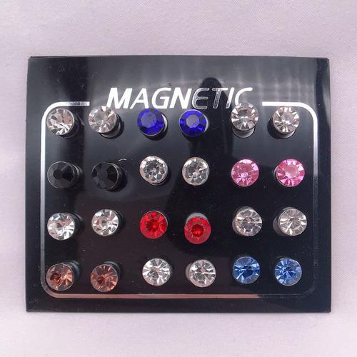 cartela com 12 pares brinco masculino pressão magnético imã
