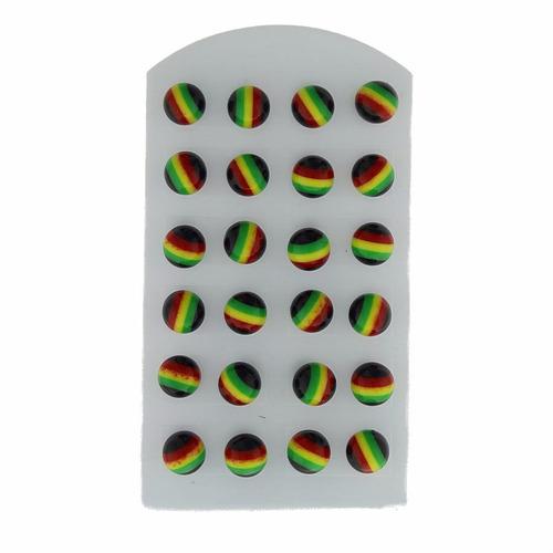 cartela com 12 pares de brincos reggae jamaica