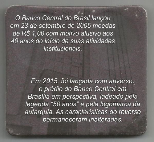 cartela com 2 moedas do banco central. 2005. 40/50 anos.