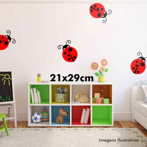 cartela de adesivo de parede decorativo joaninha (grande)