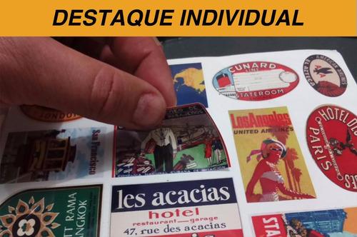 cartela de adesivos retrô p/malas 04 modelos - frete 12,00