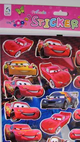 cartela de adesivos stickers relampago mcqueen c1