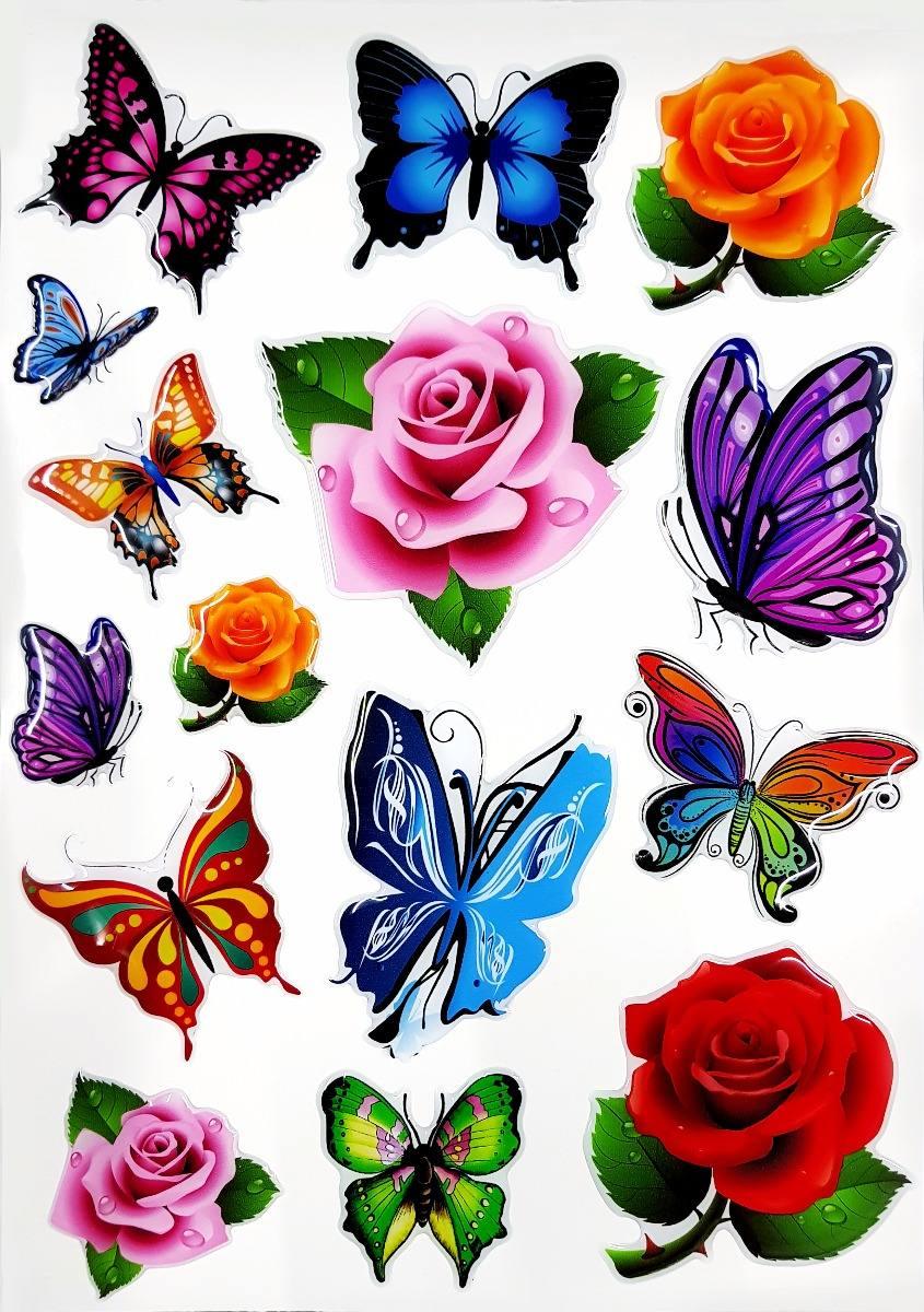 Cartela Flores Borboletas Feminino Colorida Com Resina