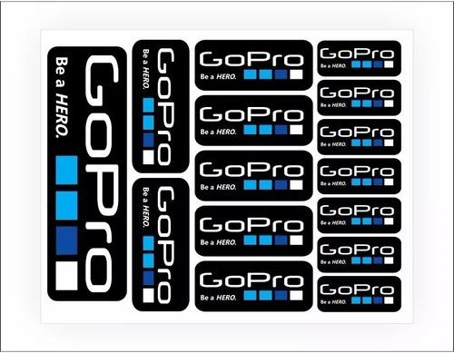 cartela kit de adesivos gopro hero acessórios go pro sports