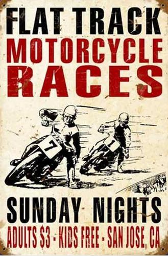 carteles antiguos chapa gruesa 60x40cm motorcycle races -034