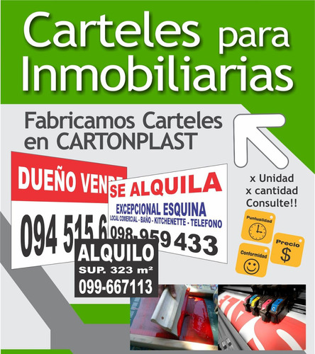 carteles cartonplast venta alquiler de propiedades