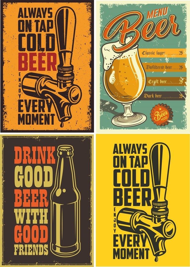 Carteles Cerveceria Bar Vintage Cerveza Para Imprimir 86 12 En