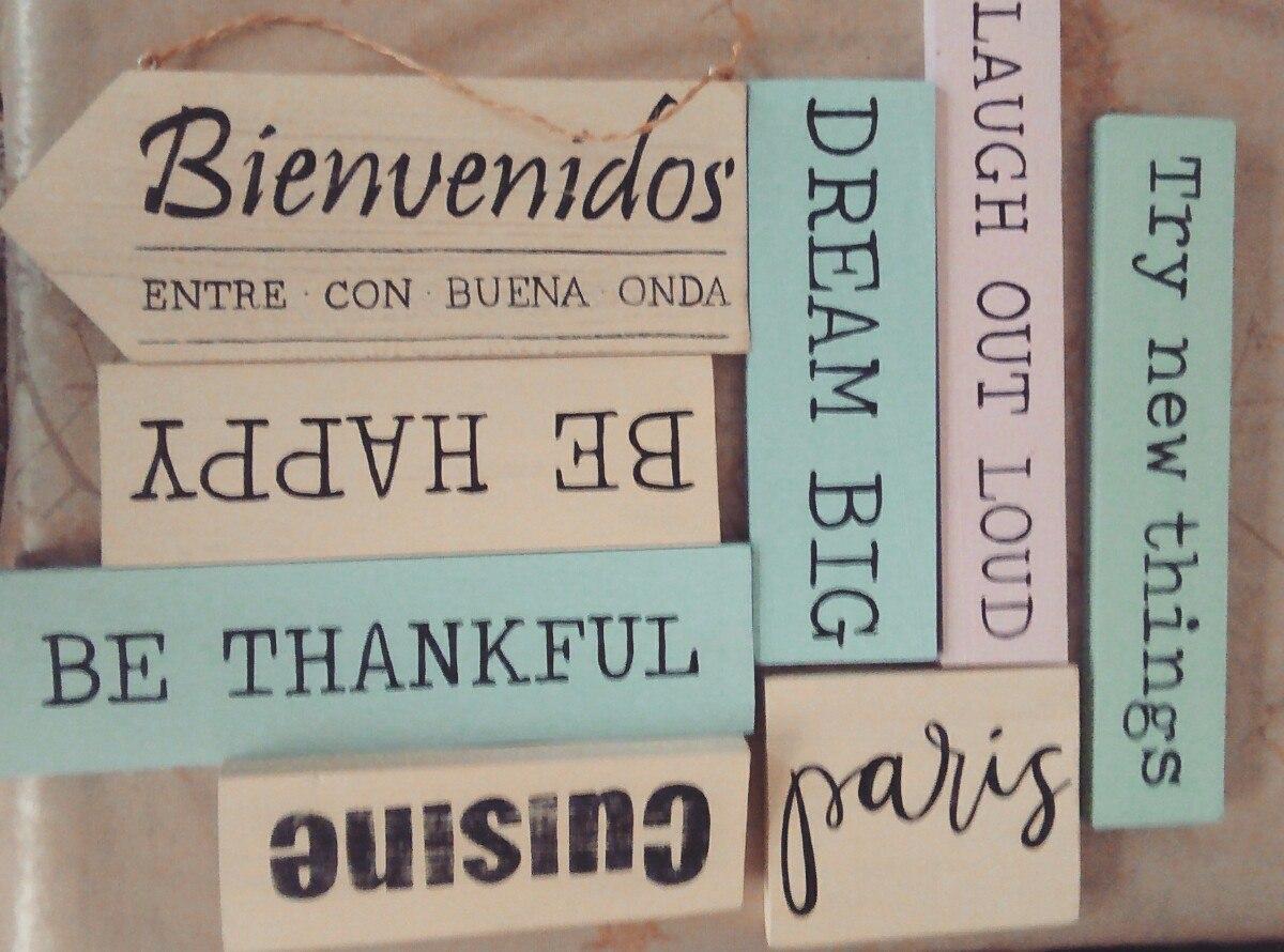 Carteles Cuadros Frases Madera Vintage 36x10cm