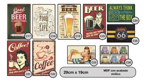 carteles decorativos chapa de madera - cerveza y sandwiches