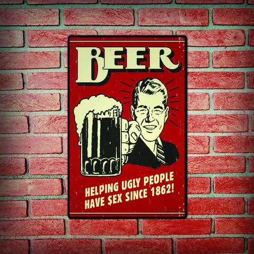 carteles decorativos chapa de madera - frase beer cerveza