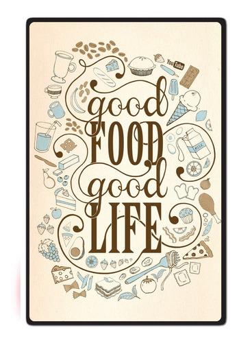 carteles decorativos chapa de madera -good food buena comida