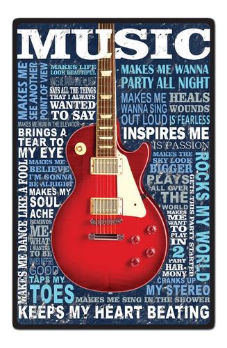carteles decorativos chapa de madera - guitarra musica 19x29