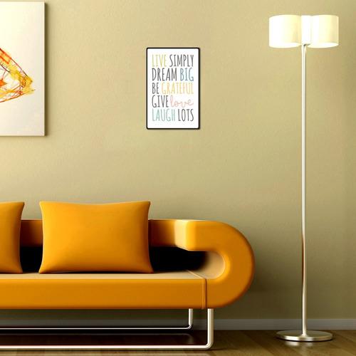 carteles decorativos chapa de madera - live simply