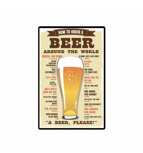 carteles decorativos chapa de madera -una cerveza por favor