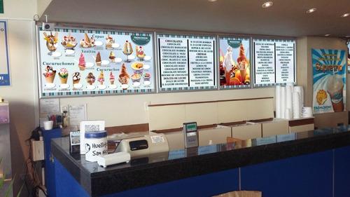 carteles led de gustos y precios para heladerias 310x83 cm