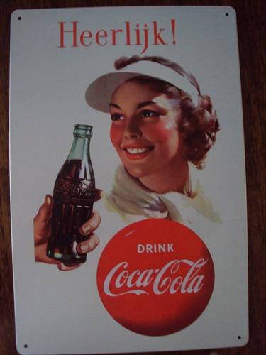 carteles metálicos coca cola con afiches antiguos publicidad