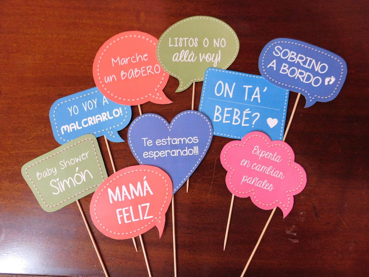 Carteles Photobooth Con Frases Kit Imprimible Baby Shower 35000