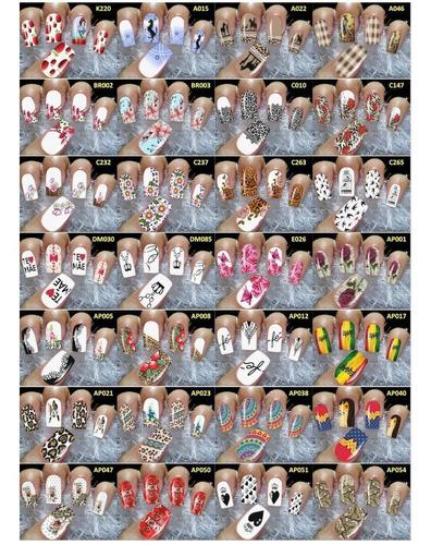 cartelão adesivos peliculas de unhas até 216 películas