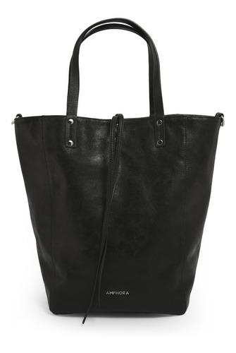 cartera amphora kila dos asas negra para mujer