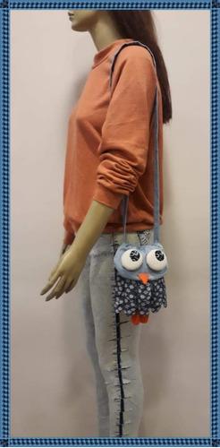 cartera artesanal lechucita en jean susila tantrik
