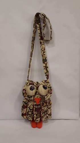 cartera artesanal lechucita en tela susila tantrik