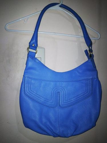 cartera azul de cuero mujer grande