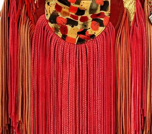 cartera bandolera cuero roja flecos carolina de cunto