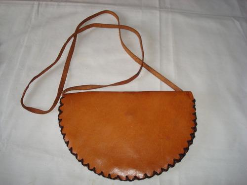 cartera bandolera pequeña de cuero legitimo artesanal !!!!