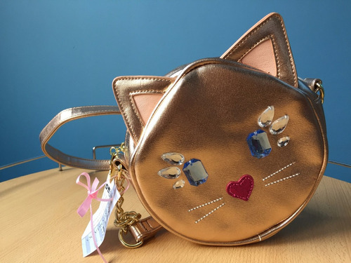 cartera betsey johnson dorada gold cat gatito importada eeuu