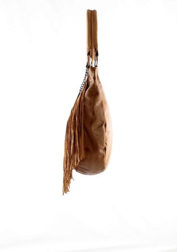 cartera bolso cuero flecos marron pintada carolina de cunto