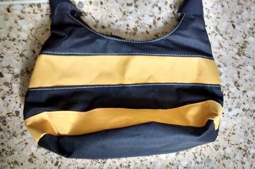 cartera (bolso) de dama a franjas negras y amarillas - tela