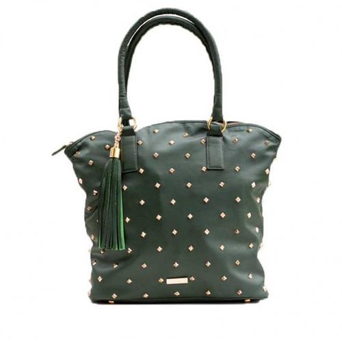 cartera bolso en cuero tachas doradas estilo prune mochila