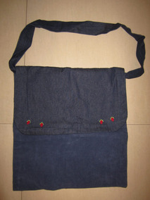 mirada detallada cf910 96f7b Cartera /bolso Jean Y Corderoy Azul Con Bordado Hecho A Mano