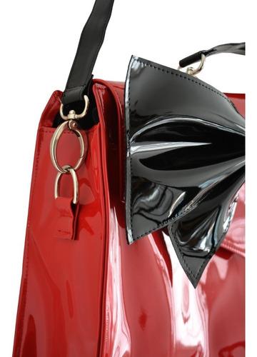 cartera bolso maletín charol rojo moño negro pin up vegana