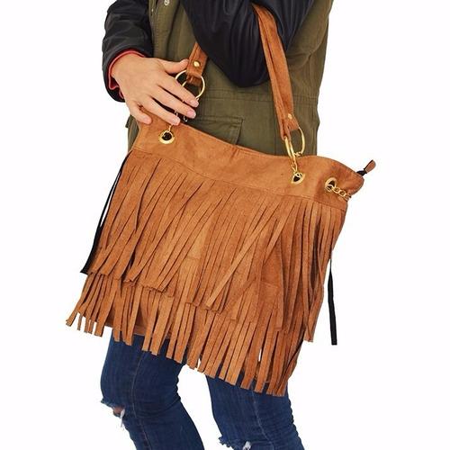 cartera bolso mujer gamuza doble flecos calidad premiun