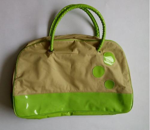 cartera (bolso) para dama grande beige / verde - remato