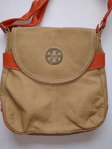cartera (bolso) para dama mediana - beige - naranja