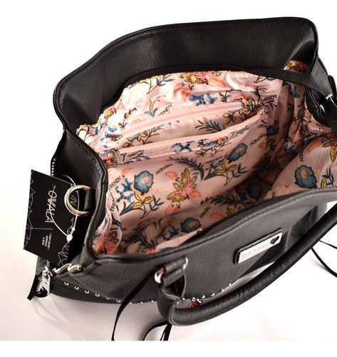 cartera bolso simil cuero grande trendy mujer tachas negra