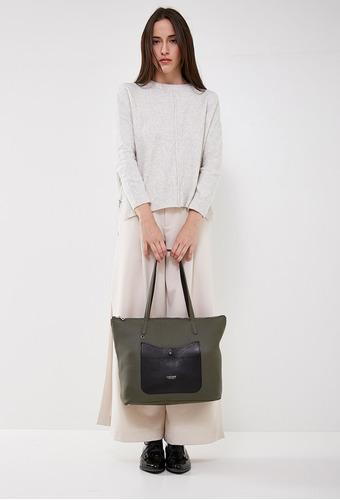 cartera canasta de mujer lazaro carson cuero olive y negro