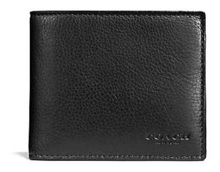 cartera coach caballero compact id wallet black original